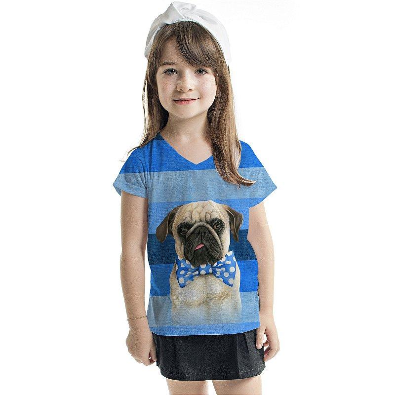 Blusa Florata Infantil Azul Listras Dog