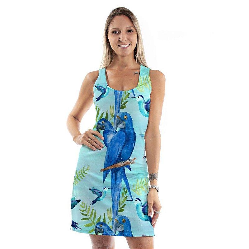 Vestido Curto Brisa Arara Azul