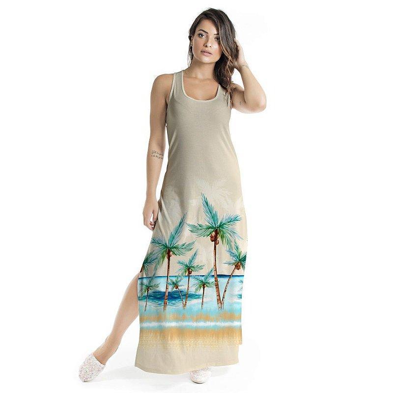 Vestido Longo Tulipa Coqueiros Praia