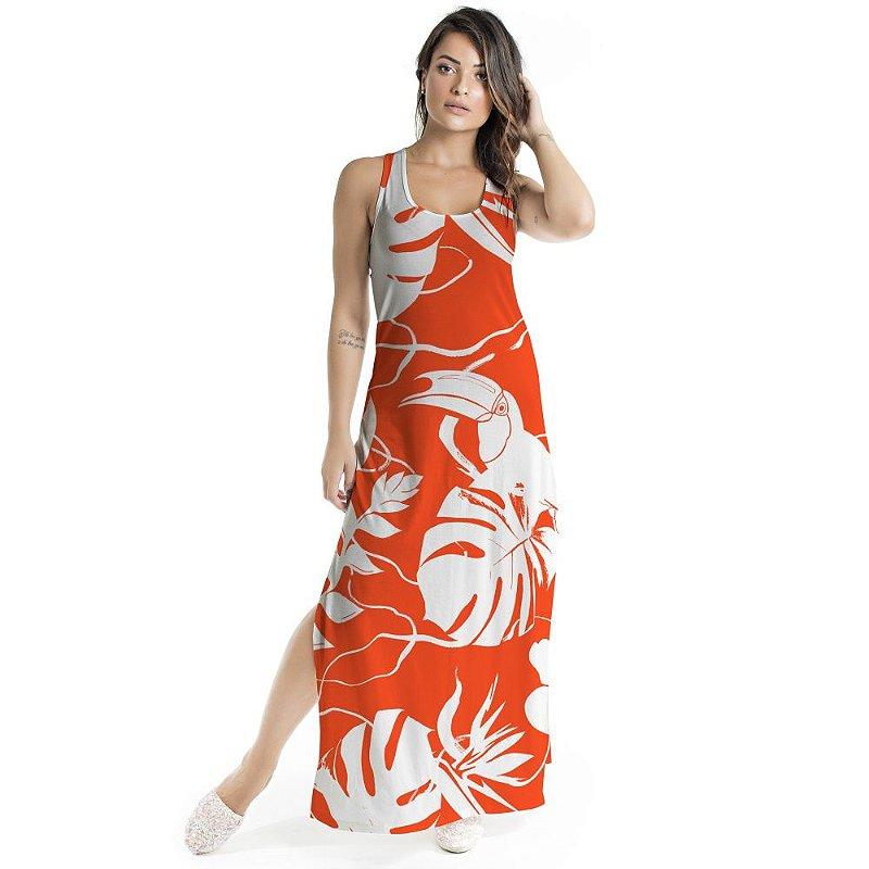 Vestido Longo Tulipa Vermelho Costela de Adão