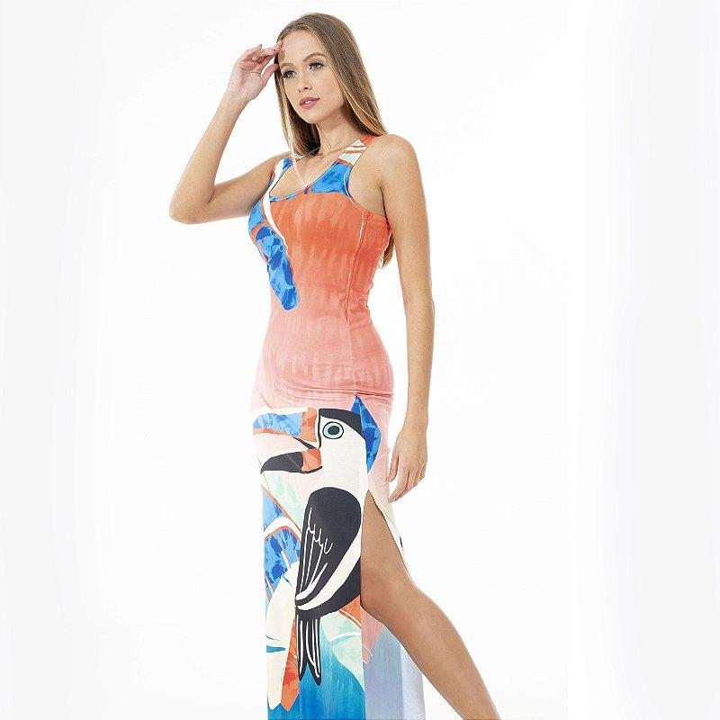 Vestido Longo Tulipa Tucano Estilizado