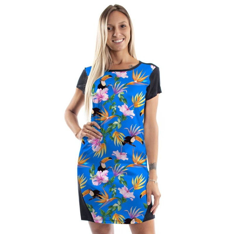 Vestido Curto Mullet Tucano e Flores