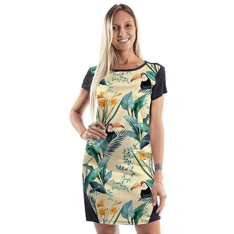 Vestido Curto Mullet Plantas Verdes