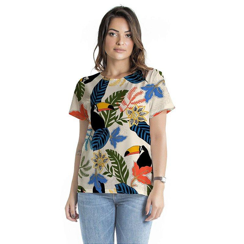 Blusa Atena Flores Coloridas Pontilhadas