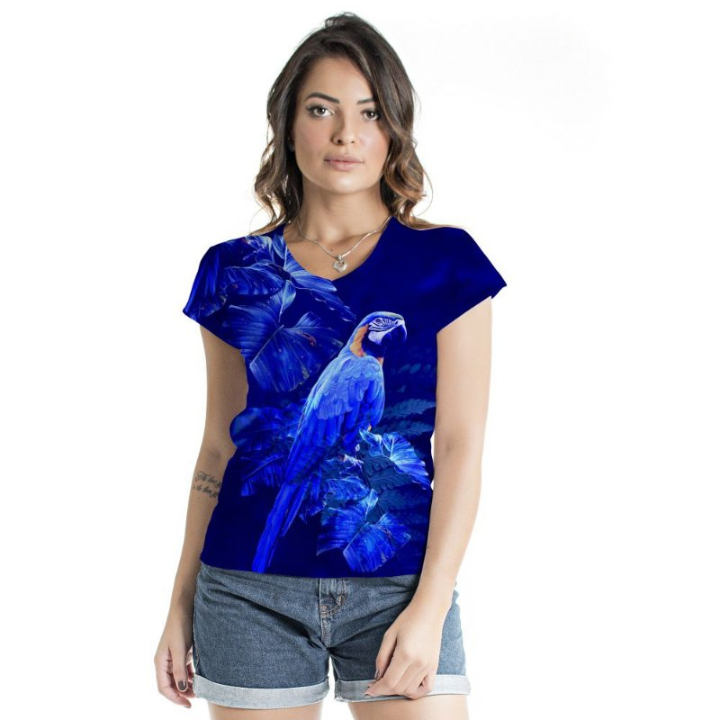 Blusa Florata Arara Azul Total