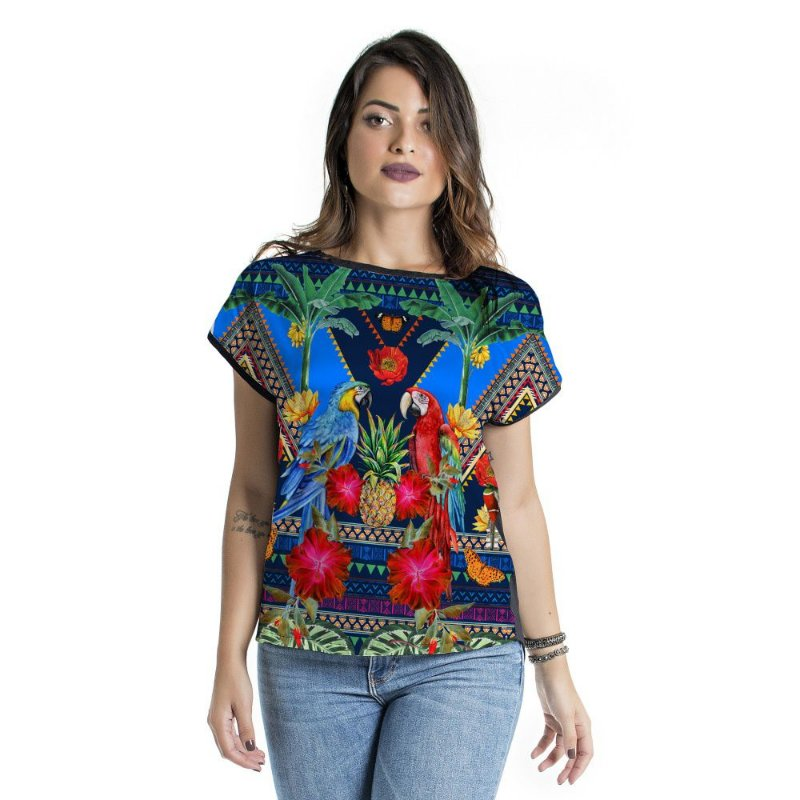 Blusa Mullet Araras Azul e Vermelha