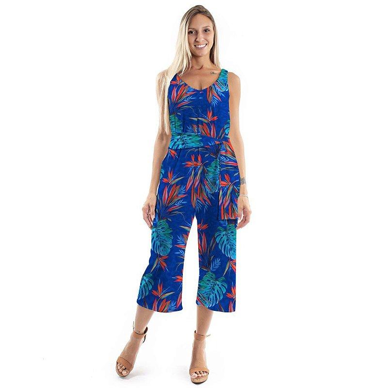 Macacão Pantacourt Costela de Adão Azul