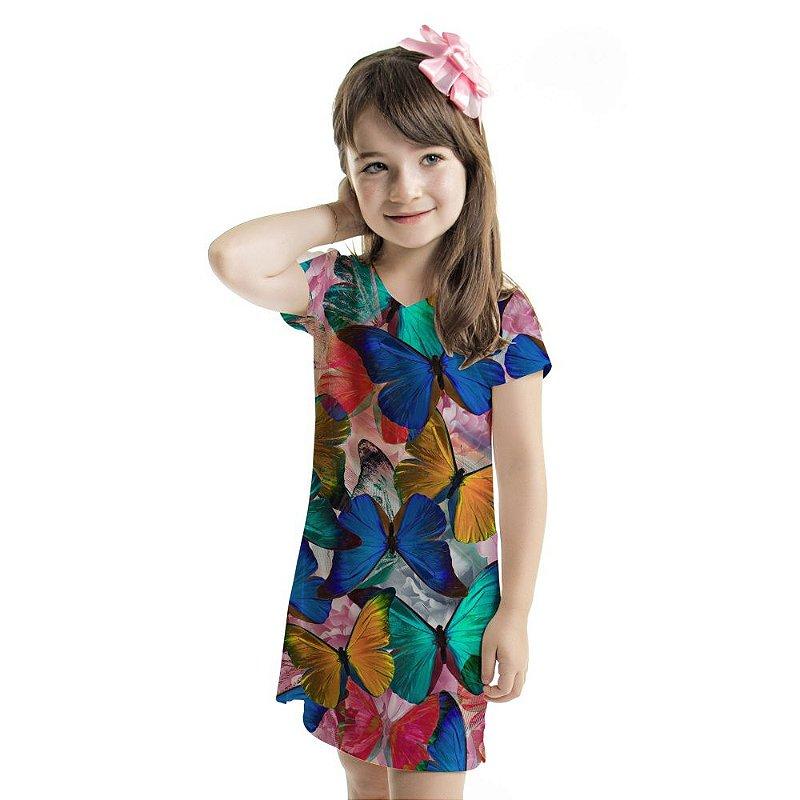 Vestido Curto Vanilla Infantil Borboletas Coloridas