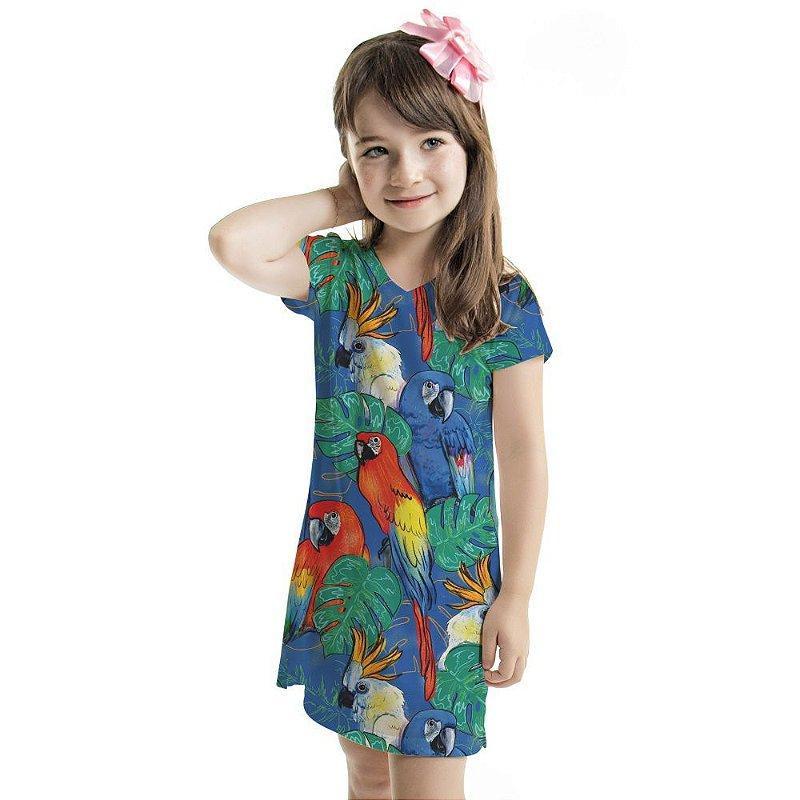 Vestido Curto Vanilla Infantil Araras e Cacatuas