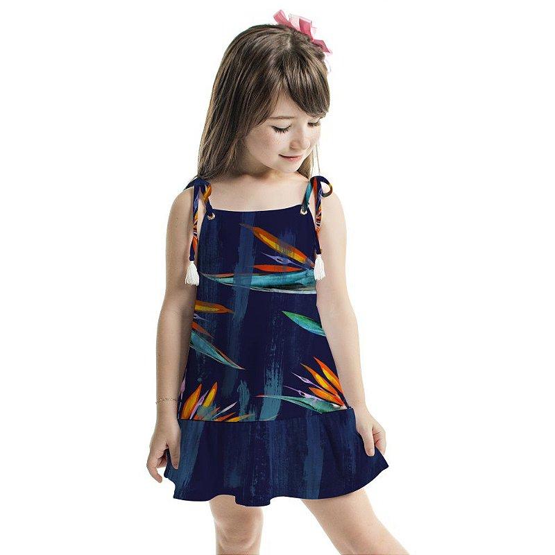 Vestido Curto Amora Infantil Azul Floral