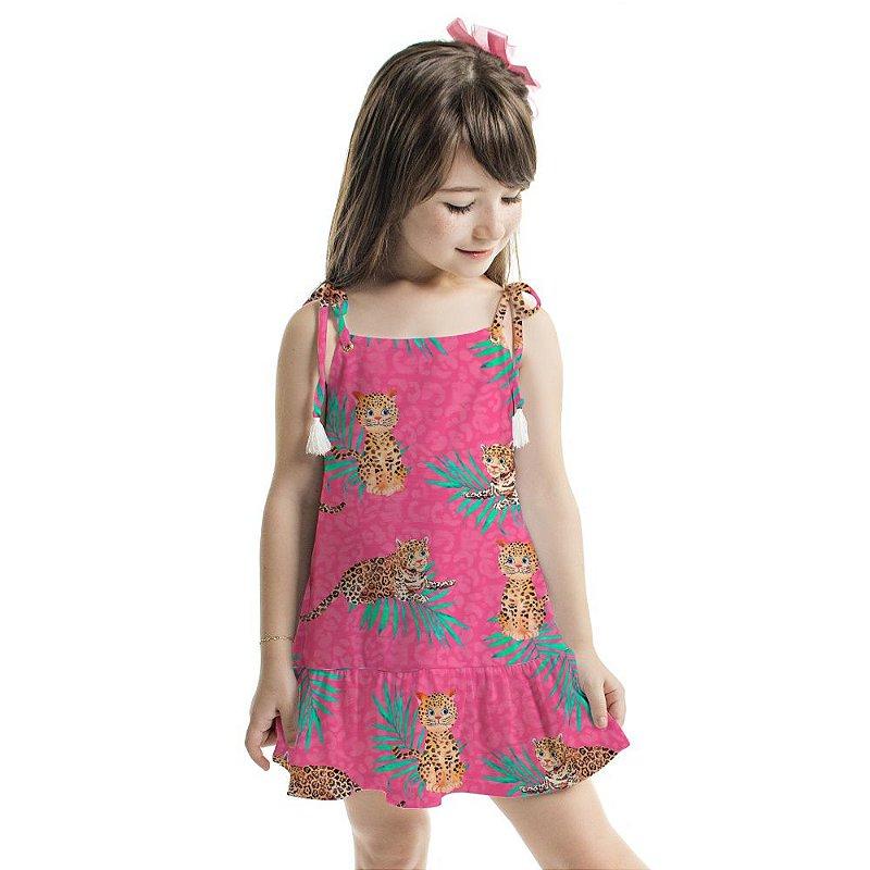 Vestido Curto Amora Infantil Oncinhas Cor de Rosa