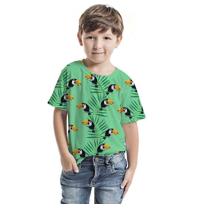 Camiseta Básica Infantil Azul Tucaninhos e Palmeiras
