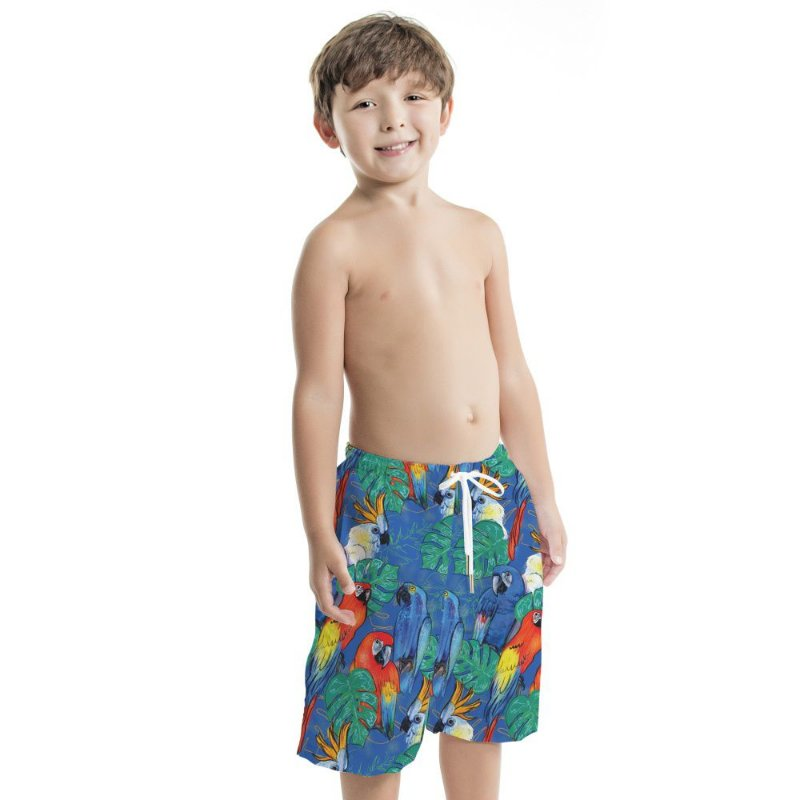 Bermuda Masculina Infantil Azul Araras e Cacatuas
