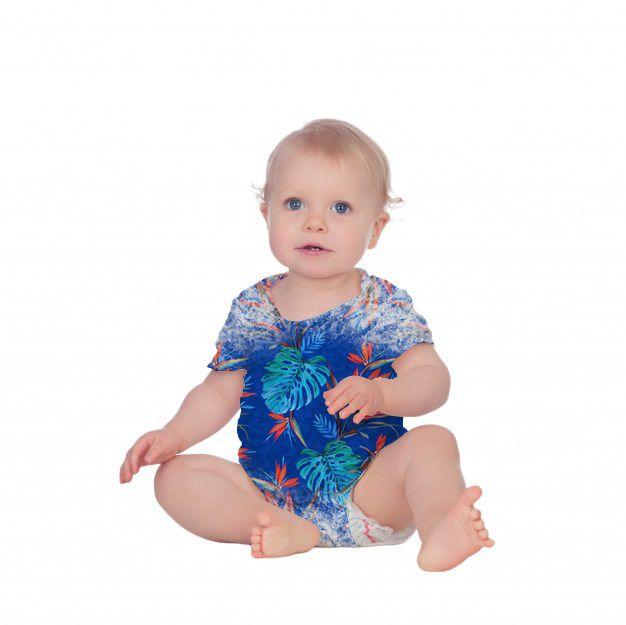 Body Bebê Manga Curta Costela de Adão Azul