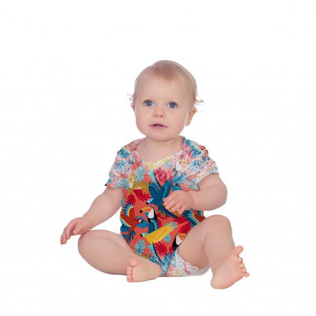 Body Bebê Manga Curta Araras Coloridas