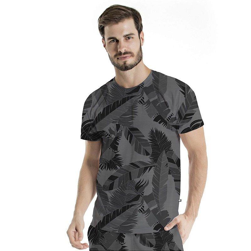 Camiseta Básica Adulto Penas Cinza