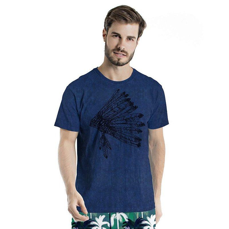 Camiseta de Algodão Estonada Sky Marinho  Cocar