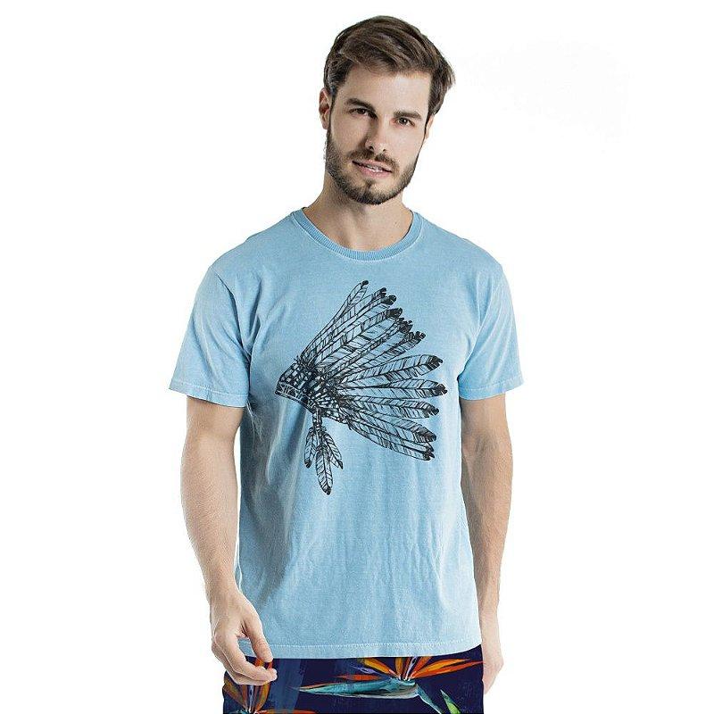 Camiseta de Algodão Estonada Azul Celeste Cocar