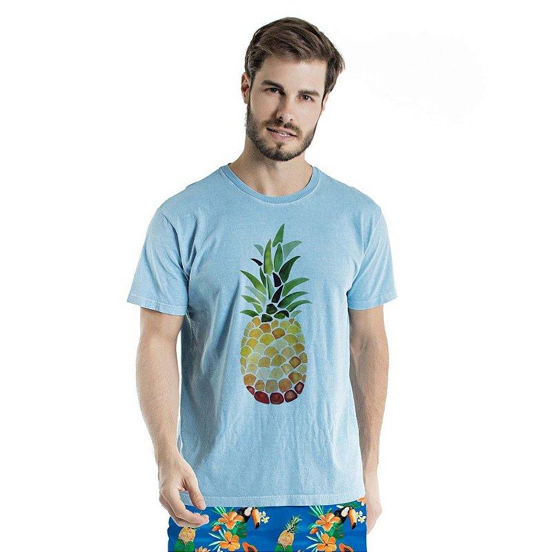 Camiseta de Algodão Estonada Abacaxi