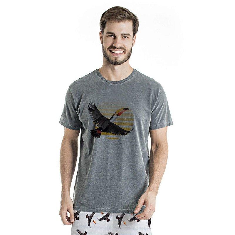 Camiseta de Algodão Estonada Chumbo Tucano Voando
