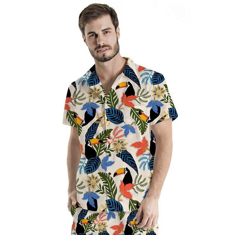 Camisa de Botão Adulto Flores Coloridas Pontilhadas