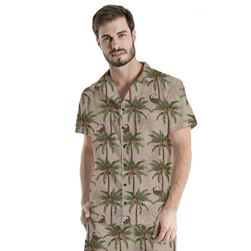 Camisa de Botão Adulto Tucanos e Coqueiros