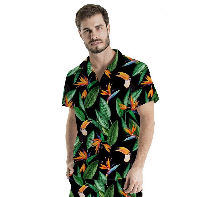 Camisa de Botão Adulto Estrelícias  e Tucanos
