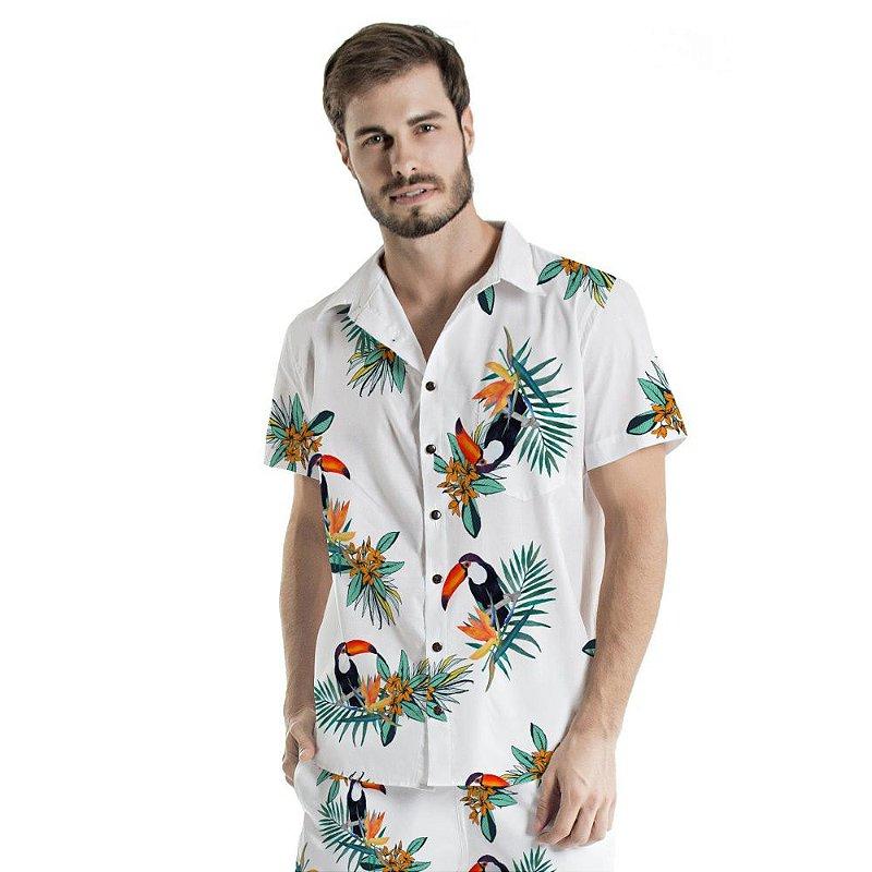Camisa de Botão Adulto Branca Tucano e Flores