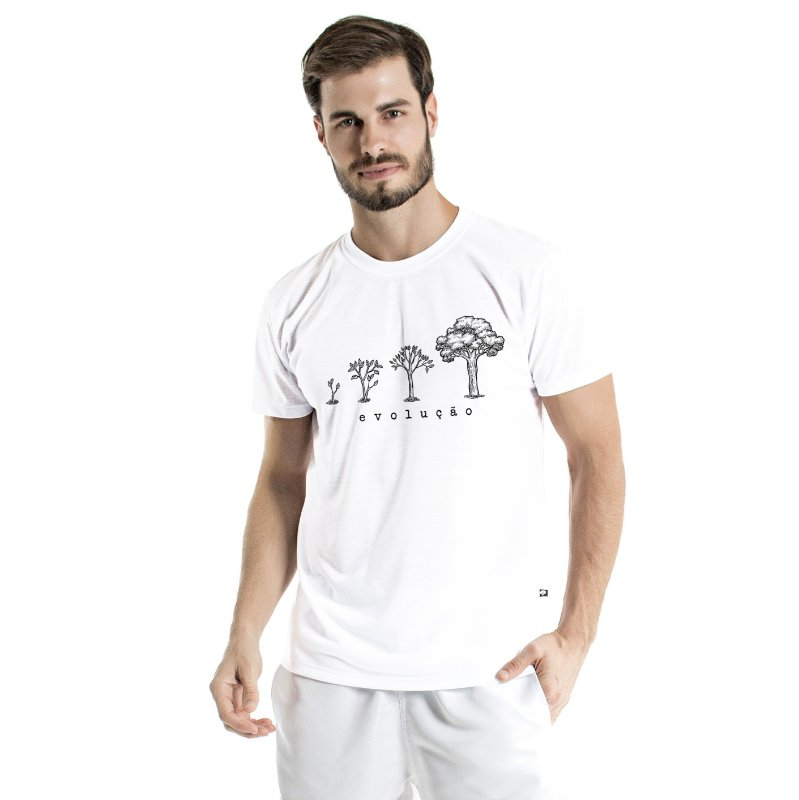 Camiseta de Algodão Estonada Branca Evolução