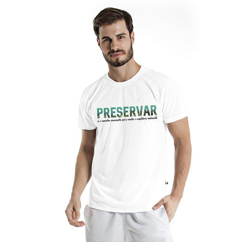 Camiseta de Algodão Estonada Branca Preservar