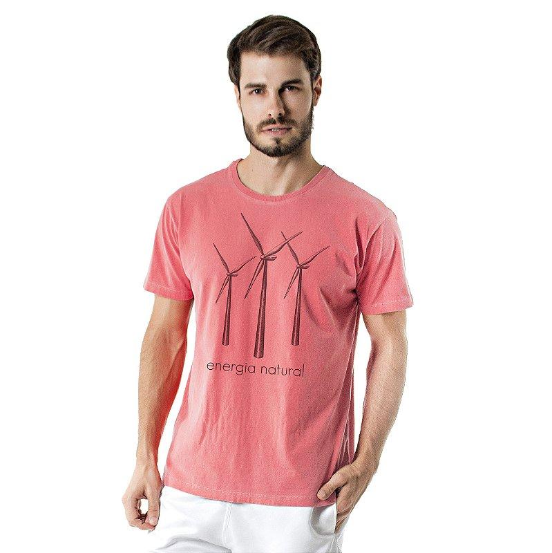 Camiseta de Algodão Estonada Coral Cataventos