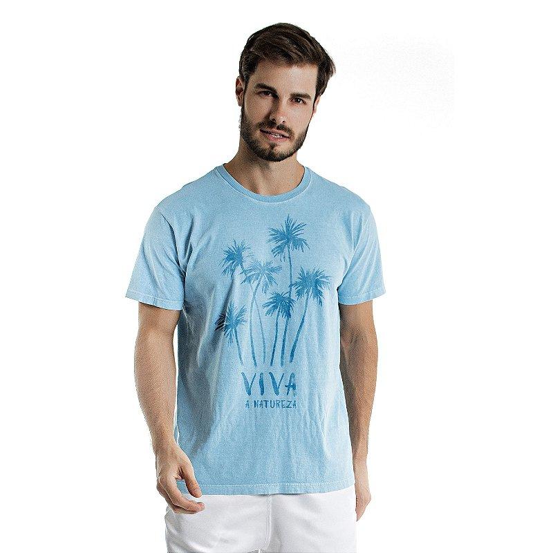Camiseta de Algodão Estonada Azul Celeste Viva a Natureza