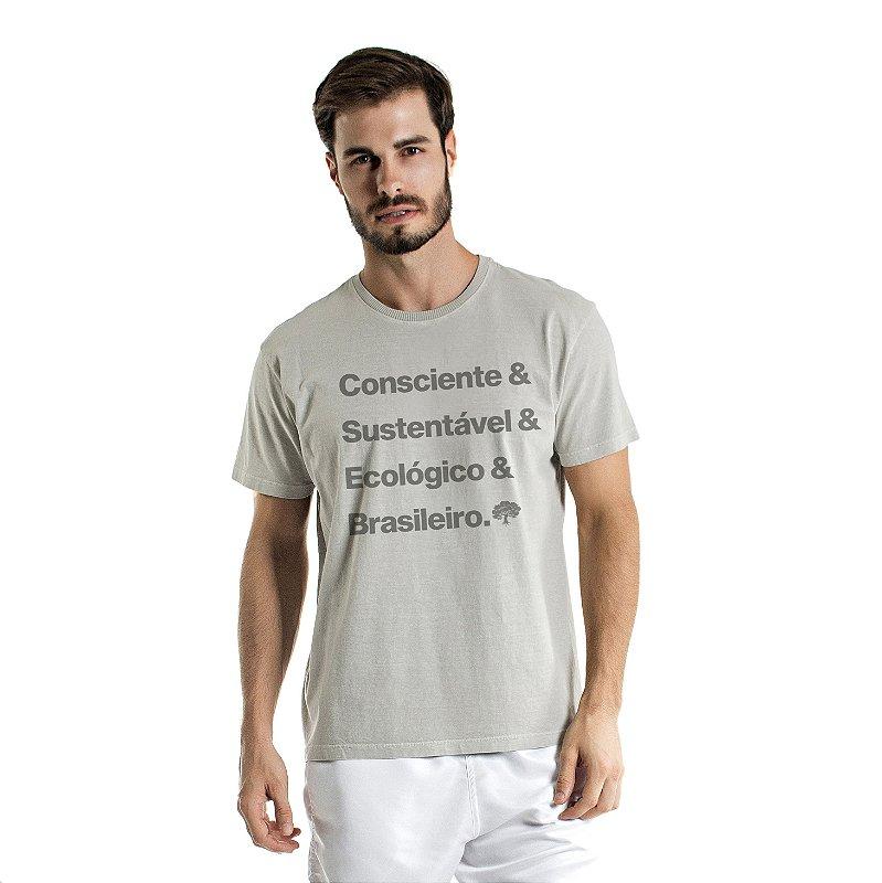 Camiseta de Algodão Estonada Cinza Brasileiro Consciente