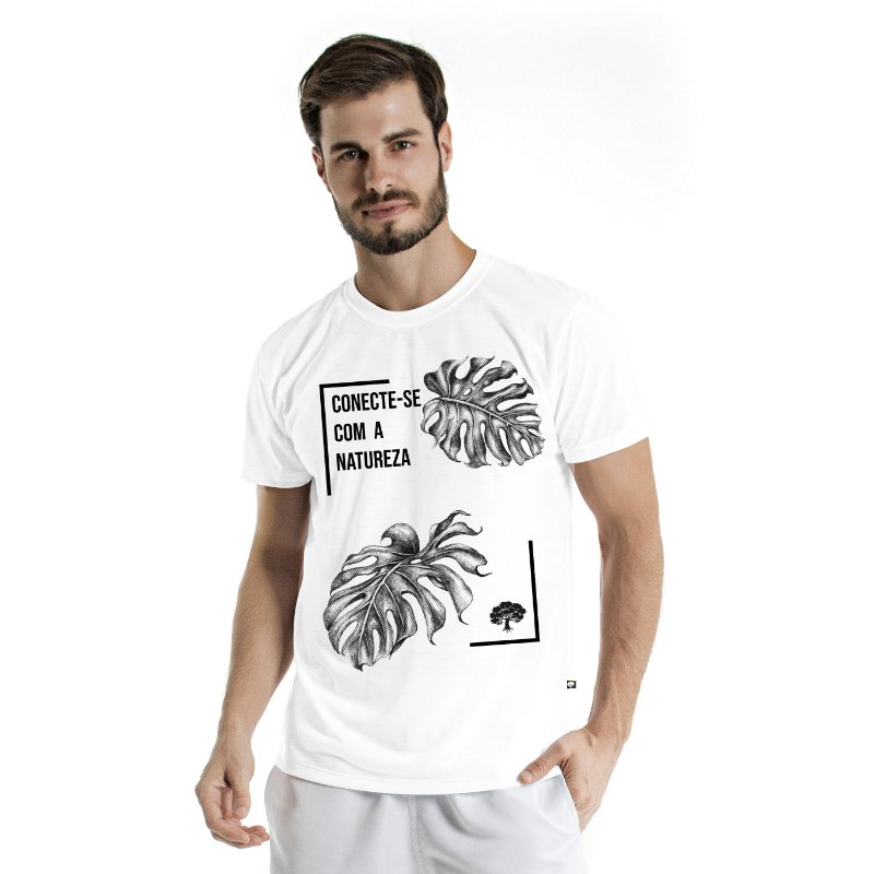 Camiseta de Algodão Estonada Branca Conexão