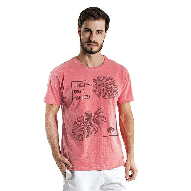 Camiseta de Algodão Estonada Coral Conexão