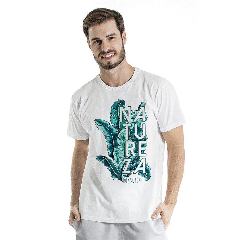 Camiseta de Algodão Estonada Branca Natureza Consciente