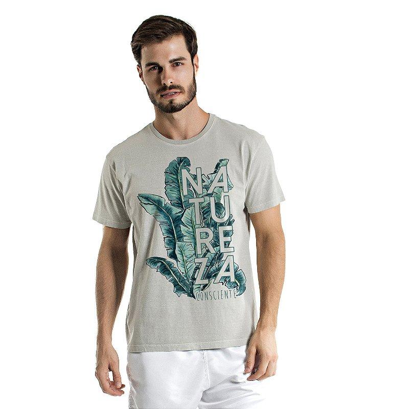 Camiseta de Algodão Estonada Cinza Natureza Consciente
