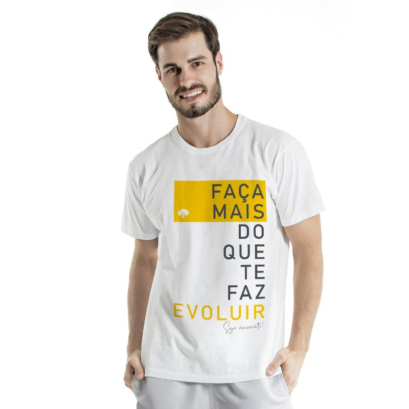 Camiseta de Algodão Estonada Branca Evoluir