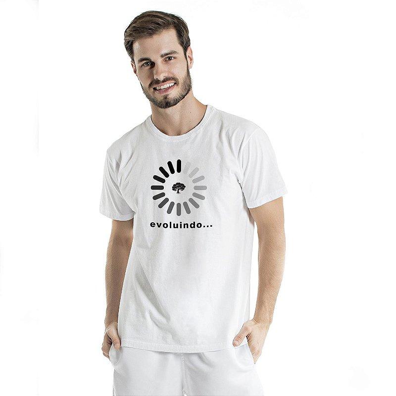 Camiseta de Algodão Estonada Branca Evoluindo