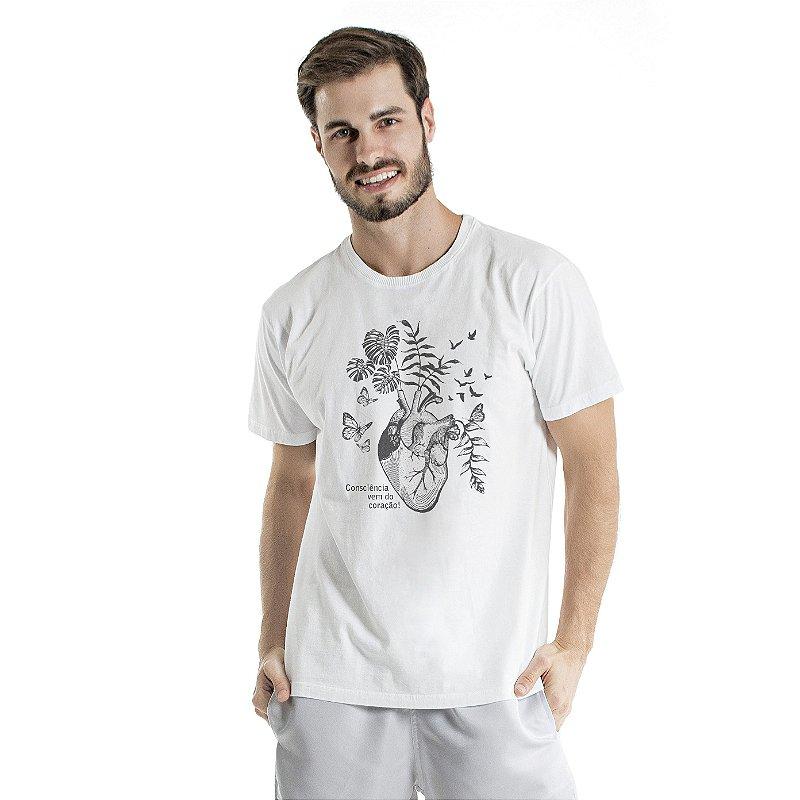 Camiseta de Algodão Estonada Branca Consciência do Coração