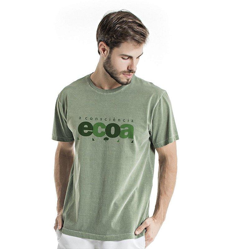 Camiseta de Algodão Estonada Verde Ecoa