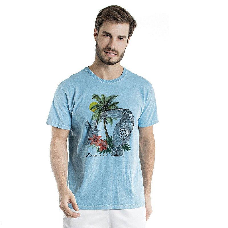 Camiseta de Algodão Estonada Azul Celeste Beija Flor e Tucano