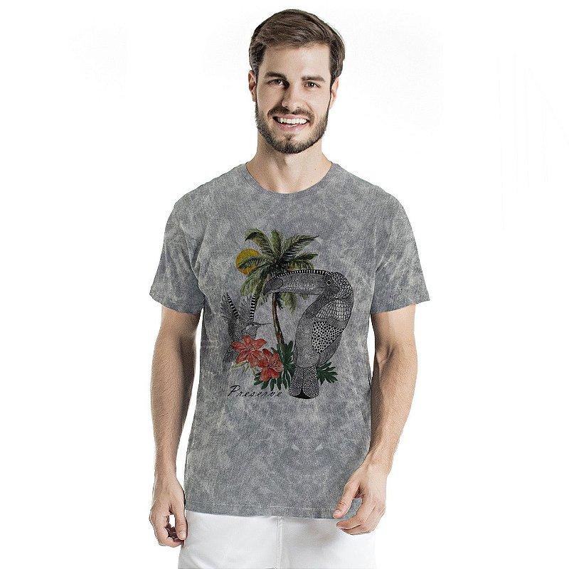 Camiseta de Algodão Estonada Cinza Sky Beija Flor e Tucano