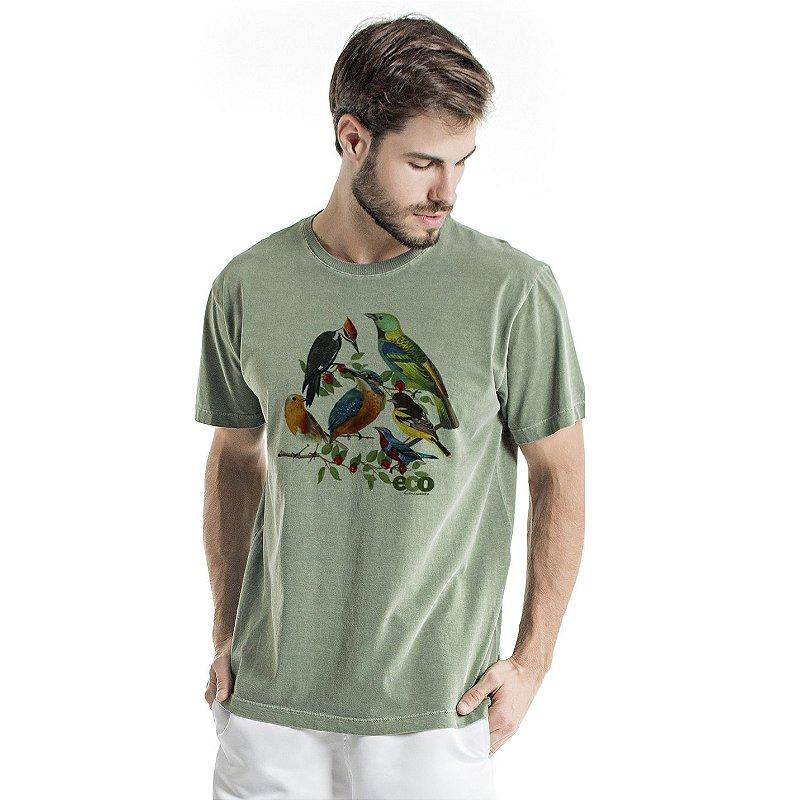 Camiseta de Algodão Estonada Verde Pássaros