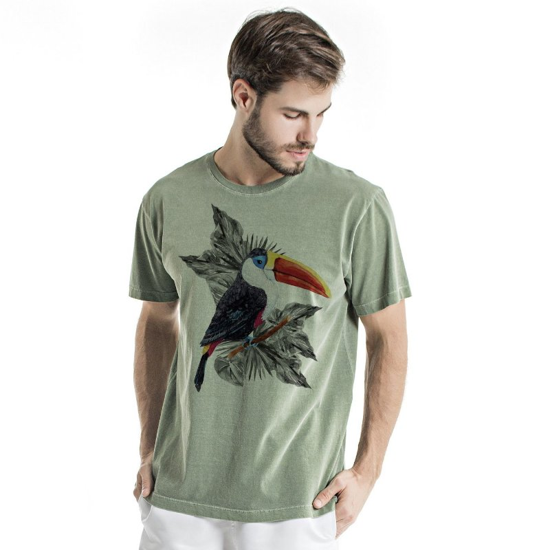 Camiseta de Algodão Estonada Verde Tucano
