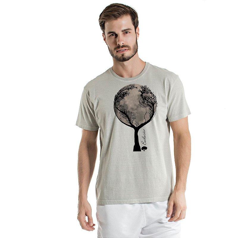 Camiseta de Algodão Estonada Cinza Árvore e Lua Evolução