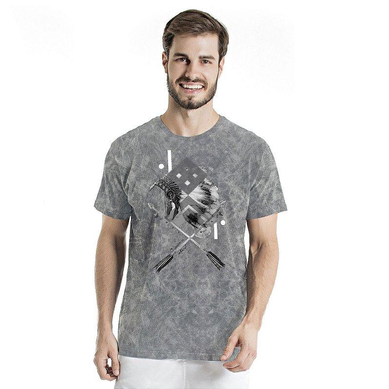 Camiseta de Algodão Estonada Cinza Sky Índio Cultura