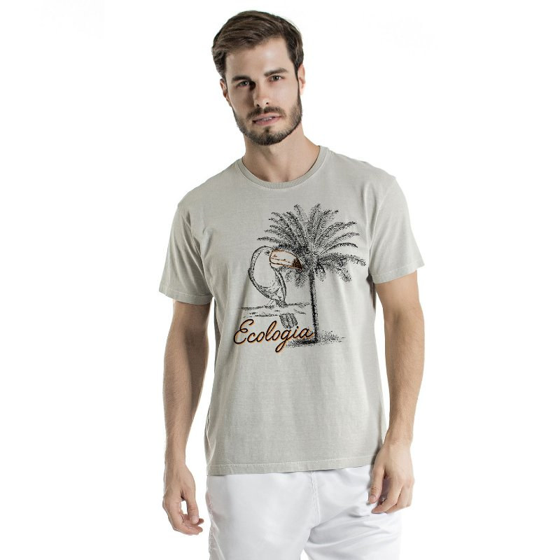 Camiseta de Algodão Estonada Cinza Palmeira