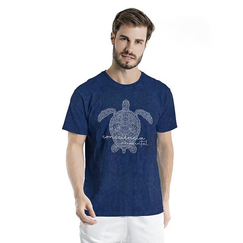 Camiseta de Algodão Estonada Marinho Sky Tartaruga