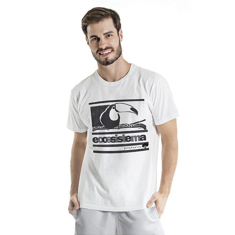 Camiseta de Algodão Estonada Branca Ecossistema